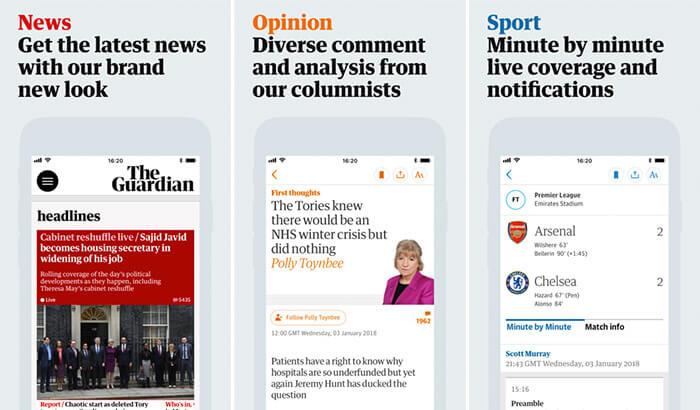 The Guardian News iPhone and iPad App Screenshot