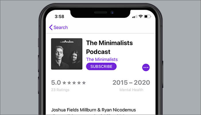 The Minimalists Podcast to Listen in Podcasts App on iPhone