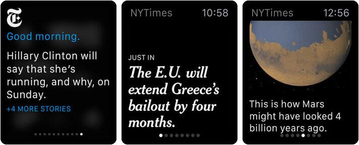 The New York Times Apple Watch News App Screenshot