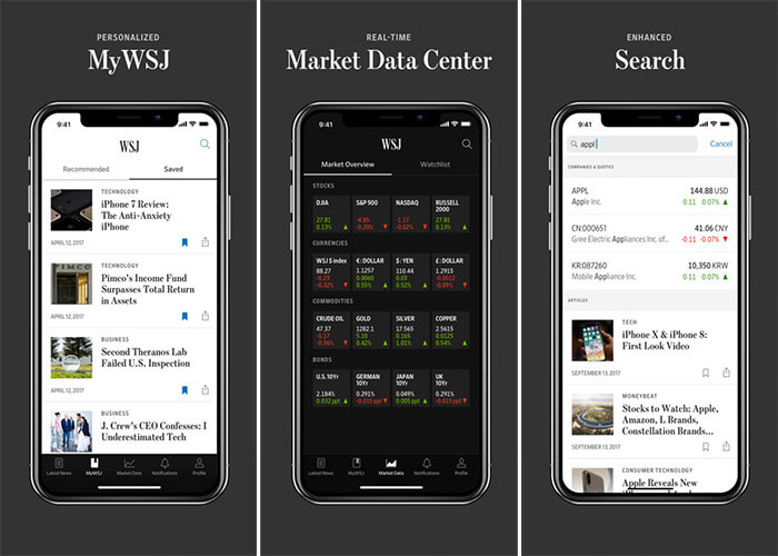 The Wall Street Journal News iPhone and iPad App Screenshot