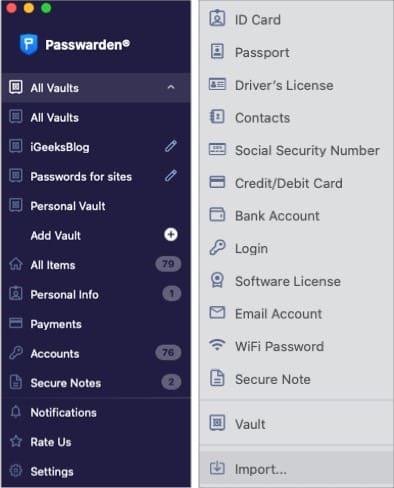 Die Tresore für die Bequemlichkeit in der Passwarden Mac App