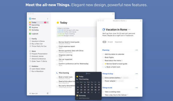 Things 3 Mac Task Management App Screenshot