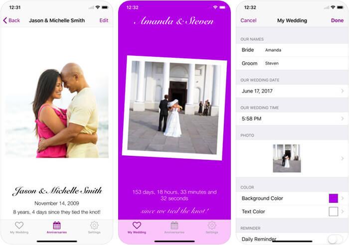 Tie The Knot Wedding Countdown iPhone and iPad App Screenshot