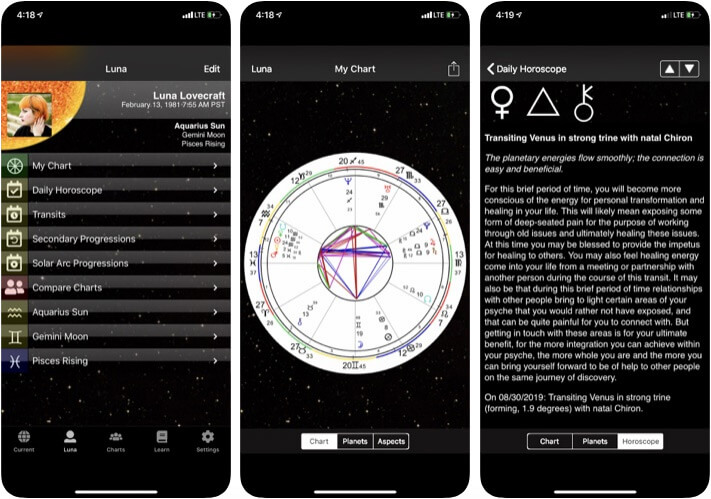 TimePassages iOS Astrology App Screenshot