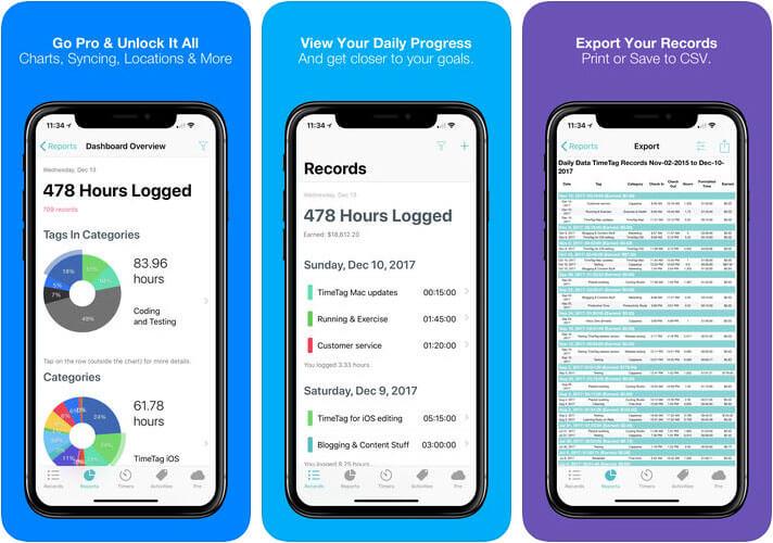 TimeTag iPhone and iPad Time Tracking App Screenshot
