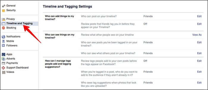 Timeline and Tagging Option in Facebook