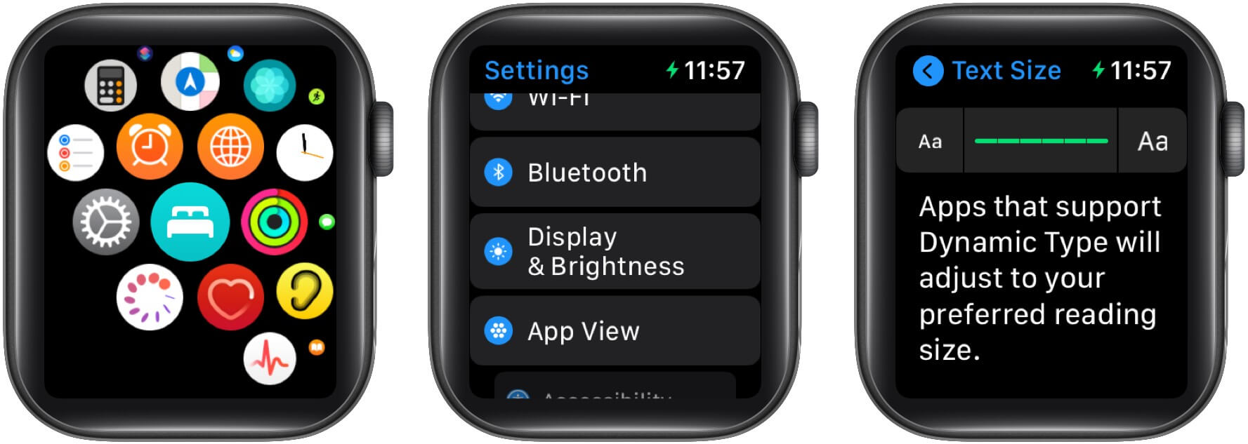 To increase text size using Apple Watch