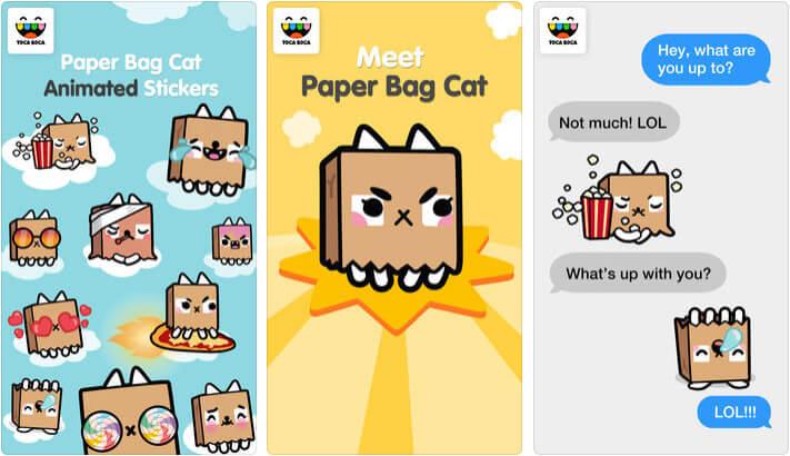 Toca Life Paper Bag Cat iMessage App Screenshot