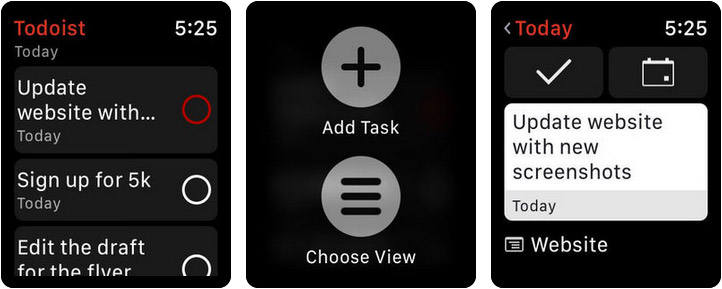 Todoist Apple Watch Reminder App Screenshot