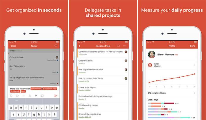 Todoist Apple Watch and iPhone App Screenshot