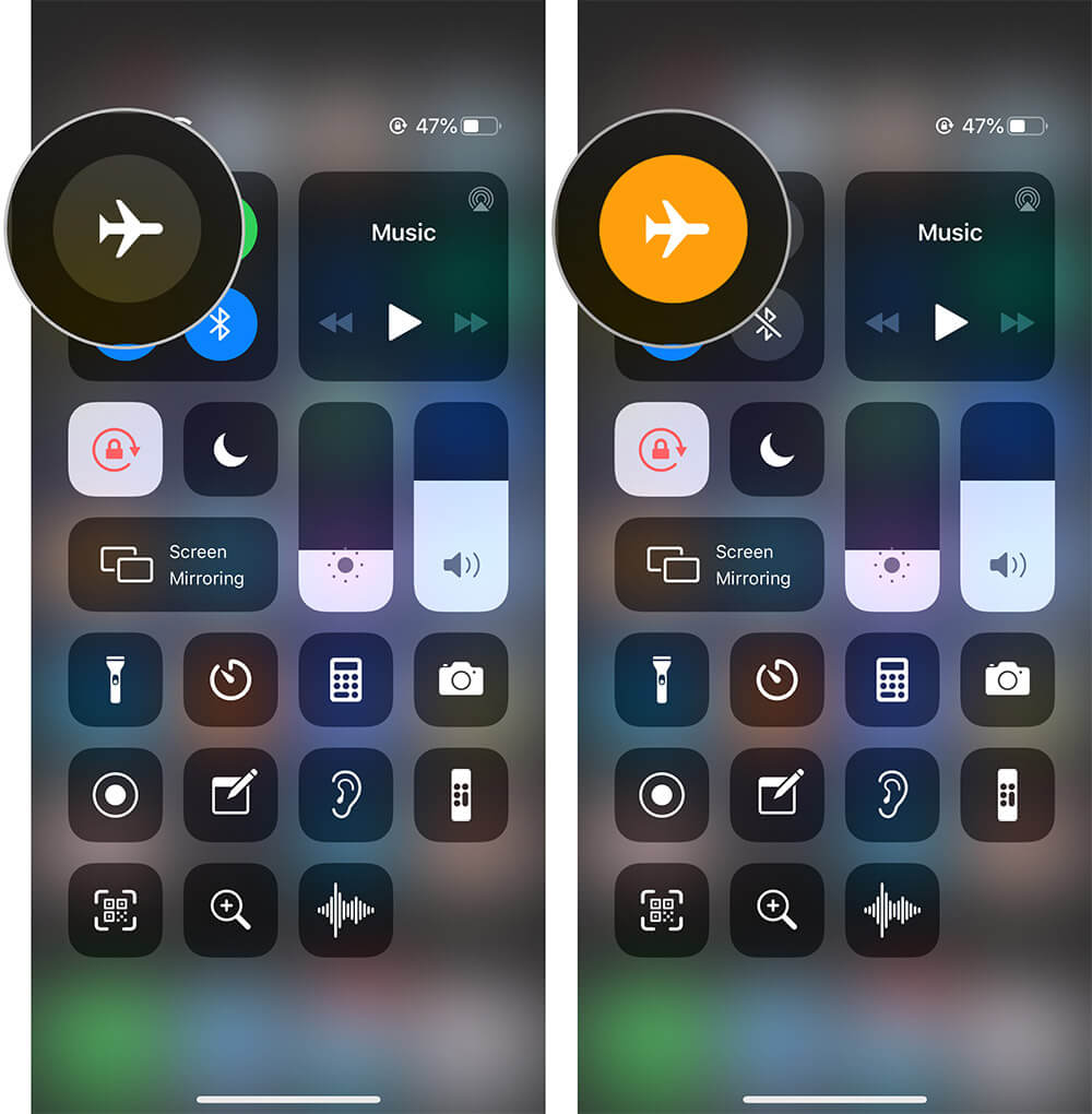 Toggle Airplane Mode from iPhone Control Center