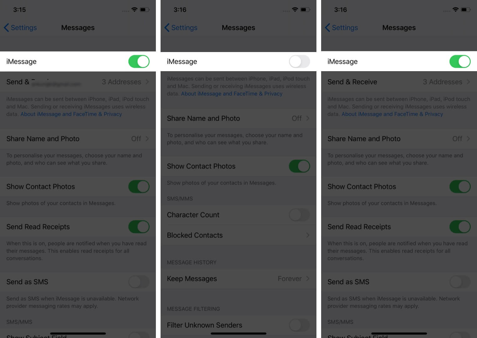 Toggle iMessage on iPhone