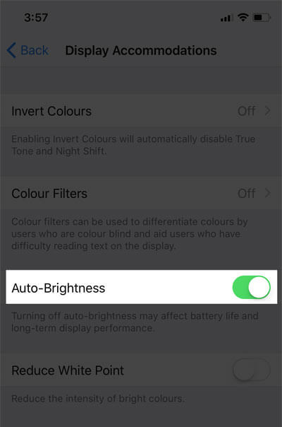 Toggle on Auto Brightness on iPhone X