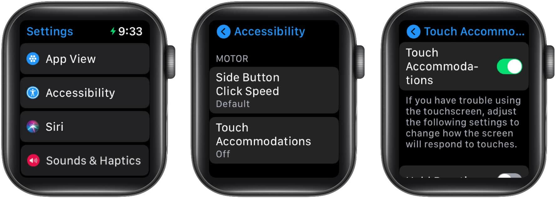 Toggle on TouchAccommodations on your Apple watch