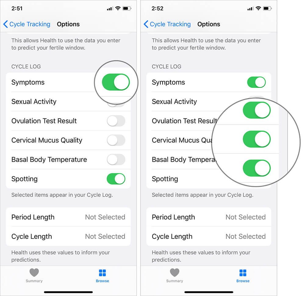 Toggle the Symptoms switch to ON in iOS Health App
