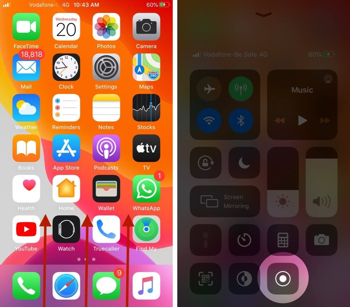 Touch and Hold Screen Recroding in Control Center on iPhone