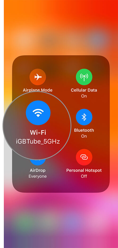 Touch and Hold WiFi icon in iOS 13 Control Center