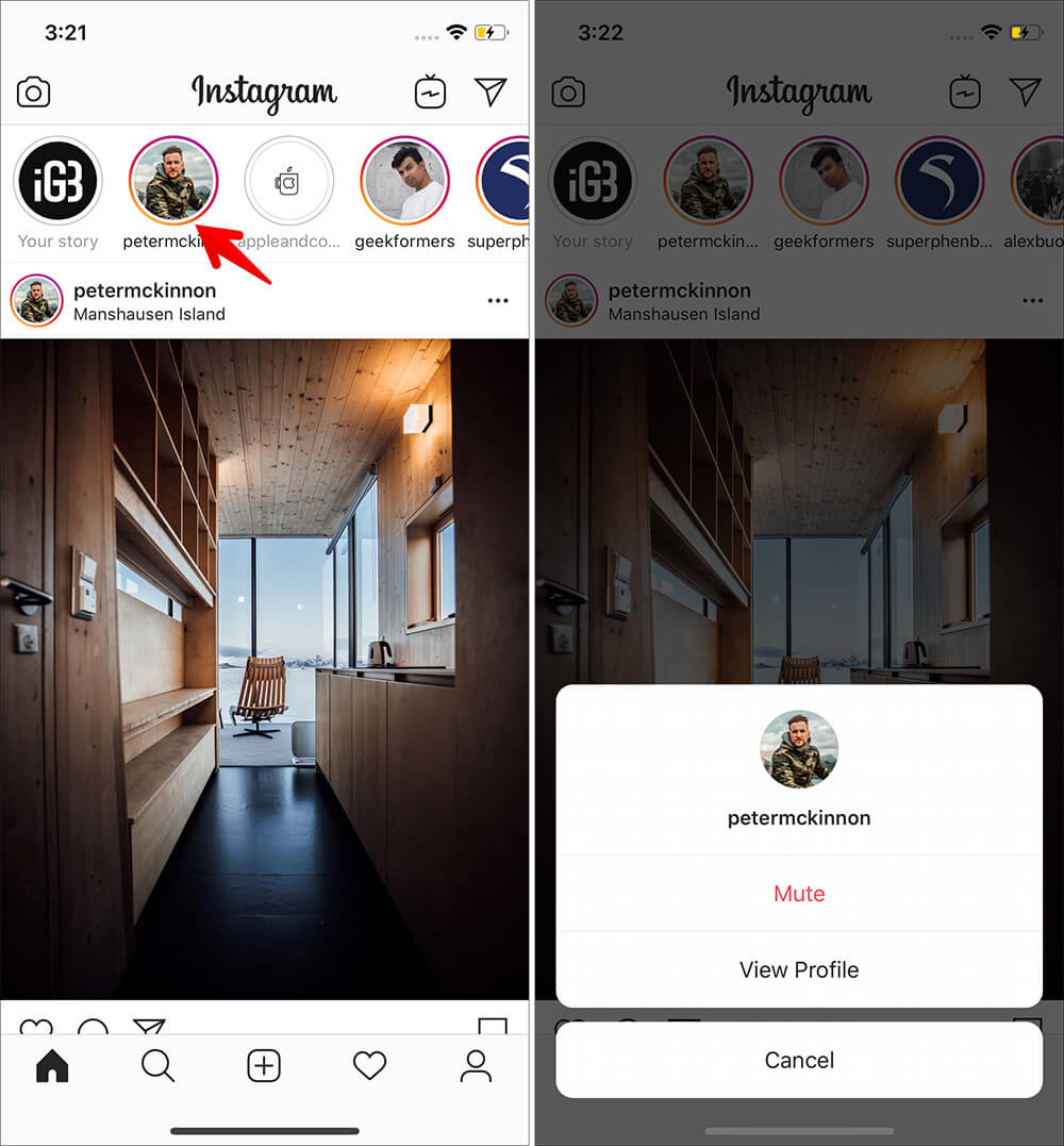Touch and hold on persons story thumbnail in Instagram app on iPhone