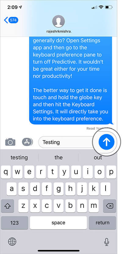 Touch and hold the arrow button in iMessage on iPhone