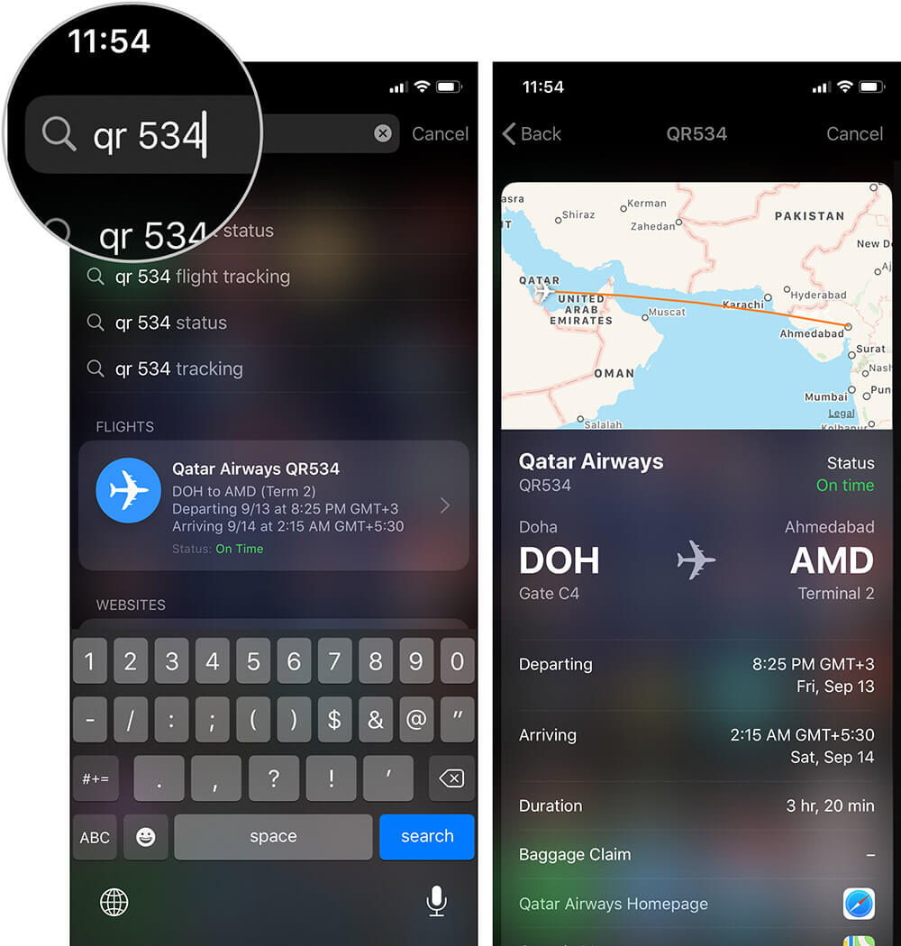 Track Flight on iPhone or iPad using Spotlight Search