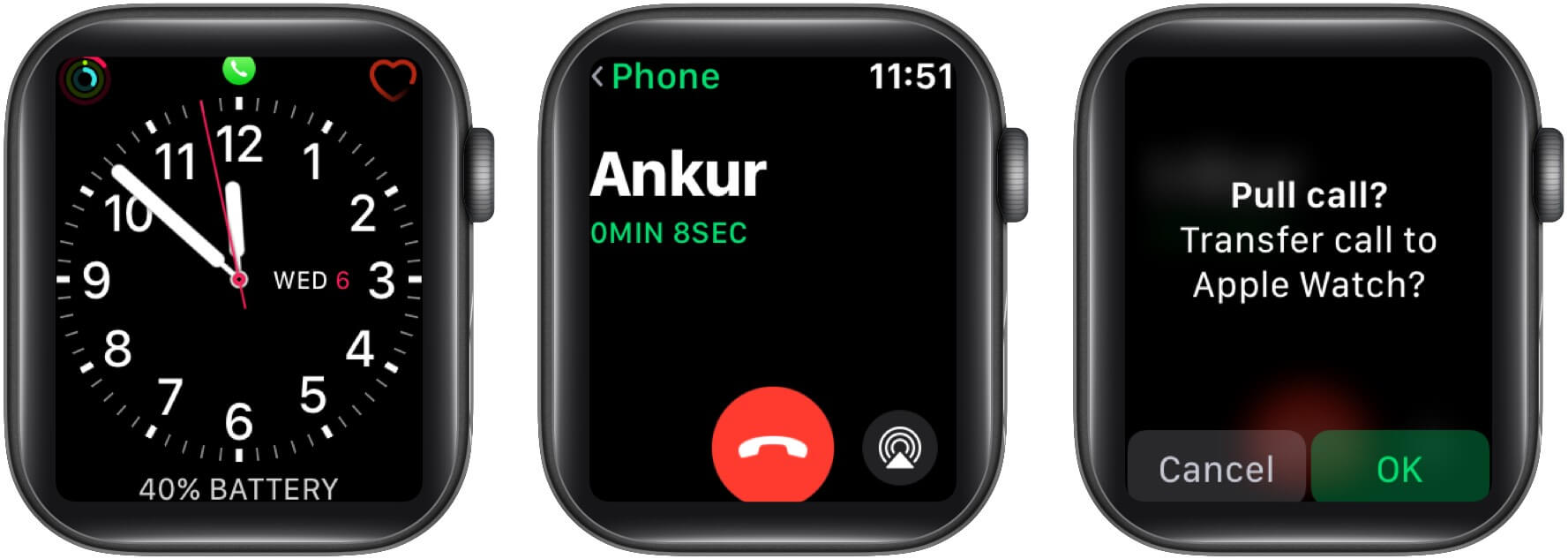 Transfer FaceTime call from iPhone to Apple Watch