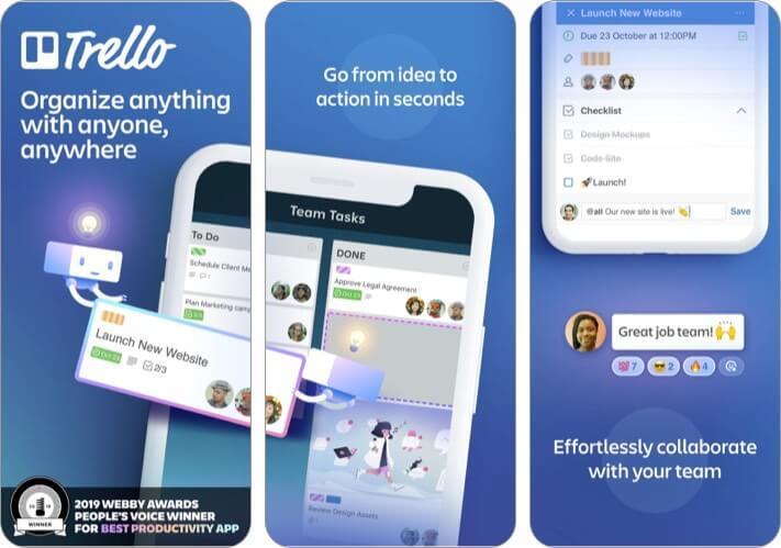 Trello best iPhone business meeting app screenshot
