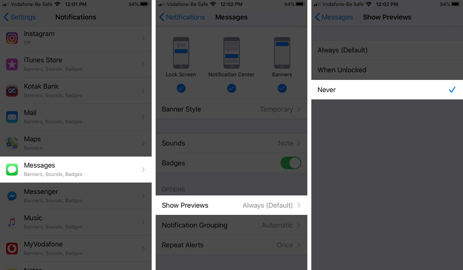Turn OFF Message Preview on iPhone Lock Screen