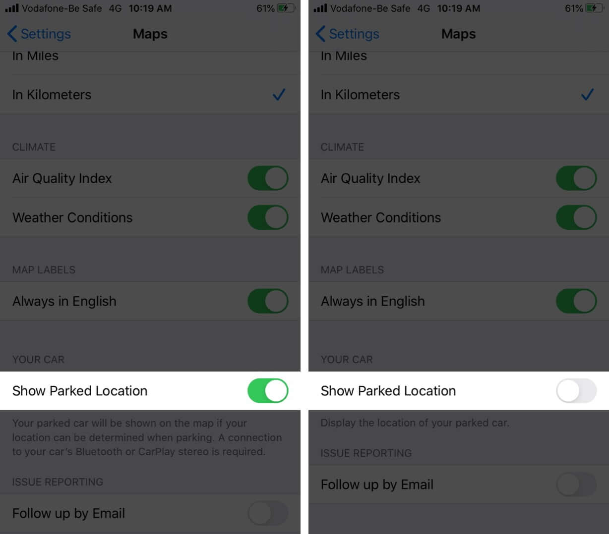 Turn OFF Parked Car Alerts from Maps on iPhone