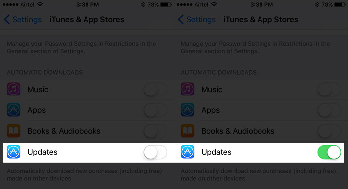 Turn ON Auto Update Apps on iPhone