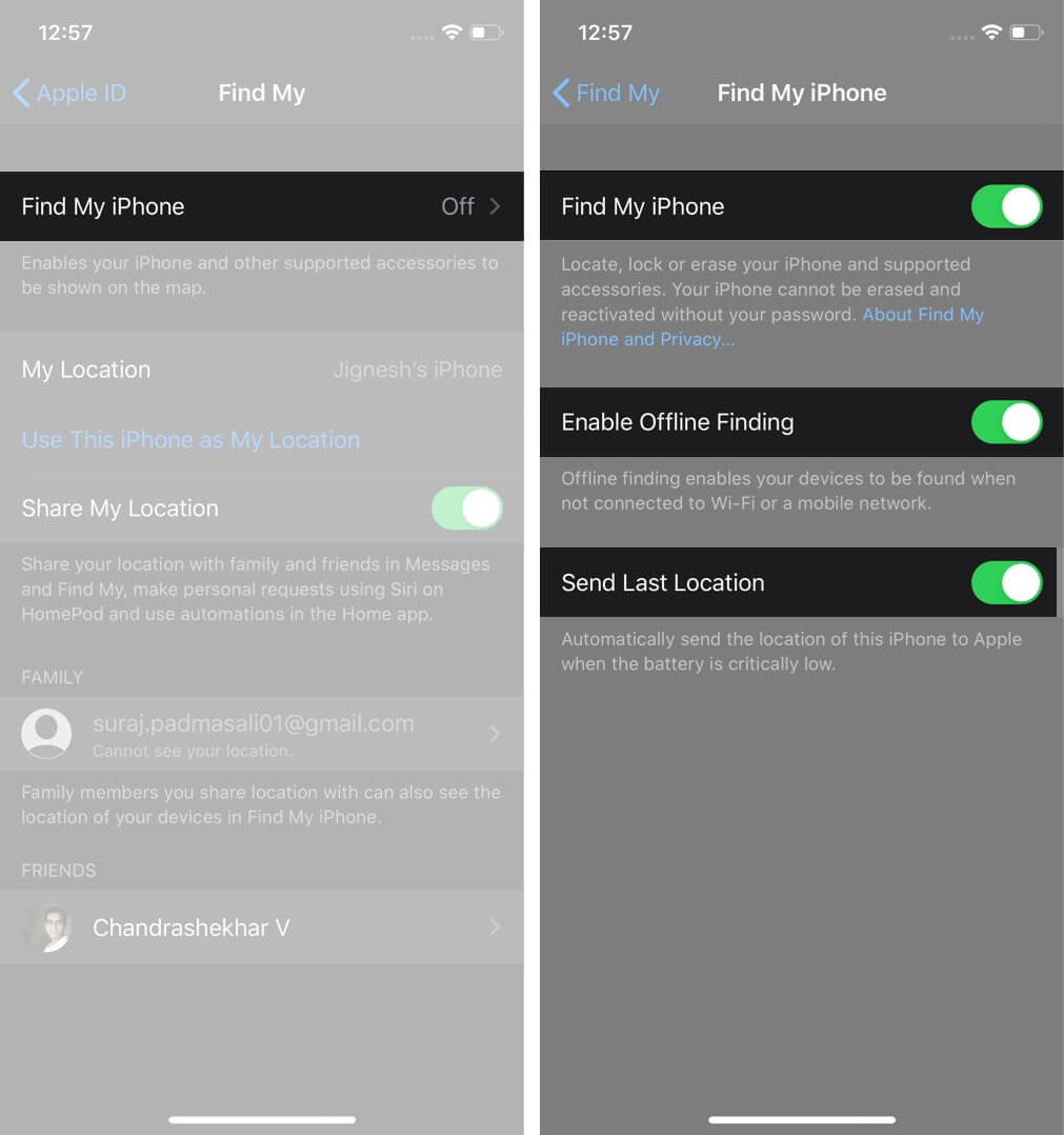 Turn ON Find My App and Enable Offline Finding on iPhone