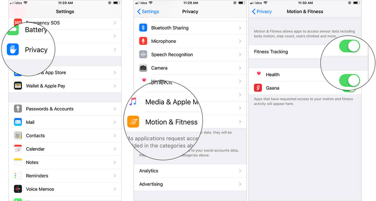 Turn ON Fitness Tracking and Health in iPhone Motion and Fitness Settings