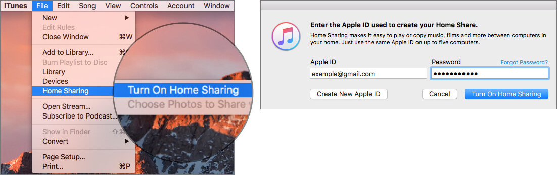 Turn ON Home Sharing in iTunes on Mac