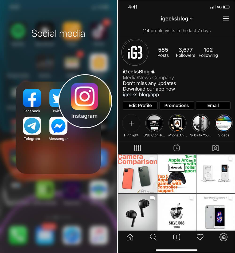 Turn ON Instagram Dark Mode on iPhone in iOS 13