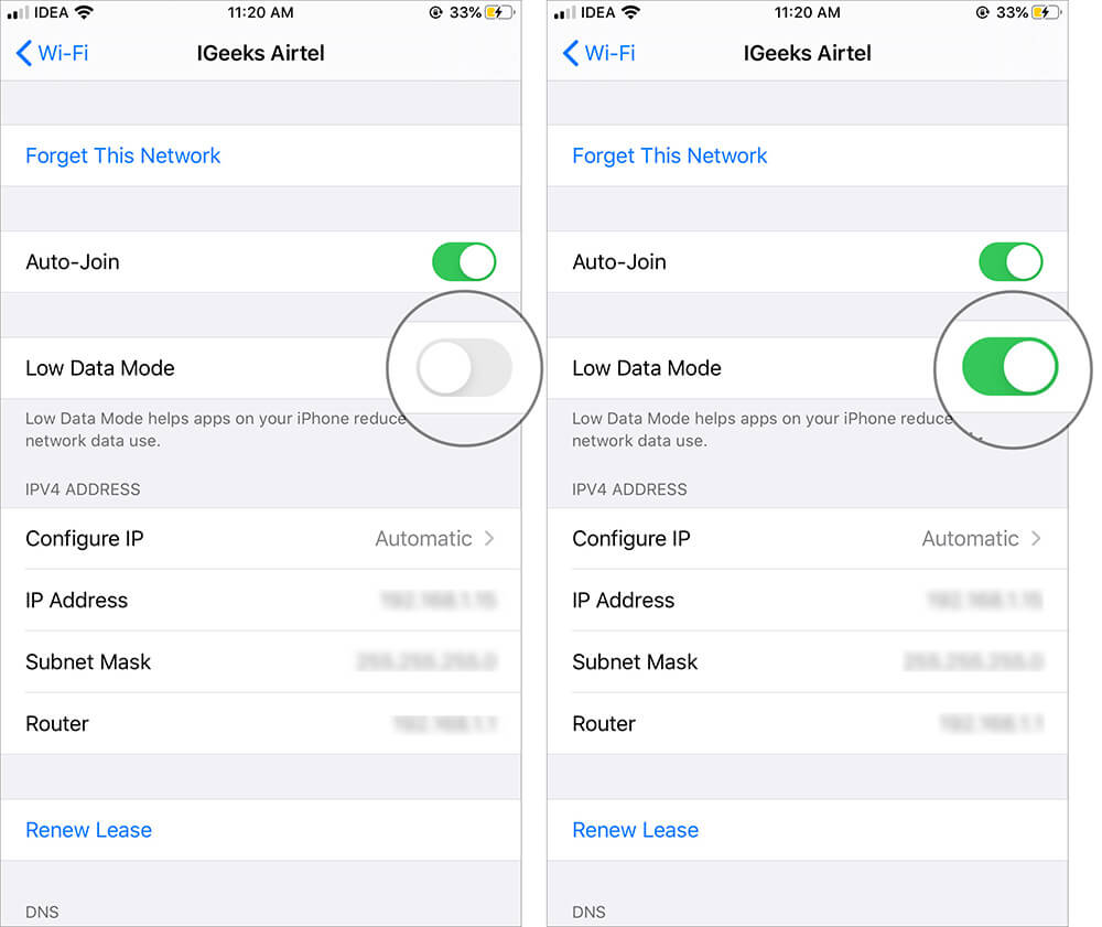 Turn ON Low Data Mode for WiFi in iOS 13