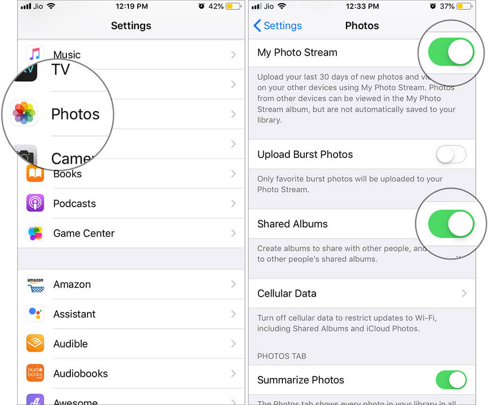 Turn ON My Photo Stream and Shared Albums in iPhone Settings