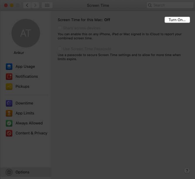 Turn ON Screen Time on Mac
