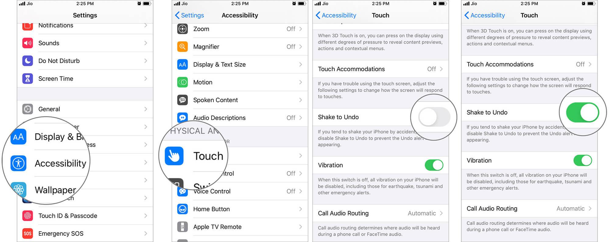 Turn ON Shake to Undo in iOS 13 Settings