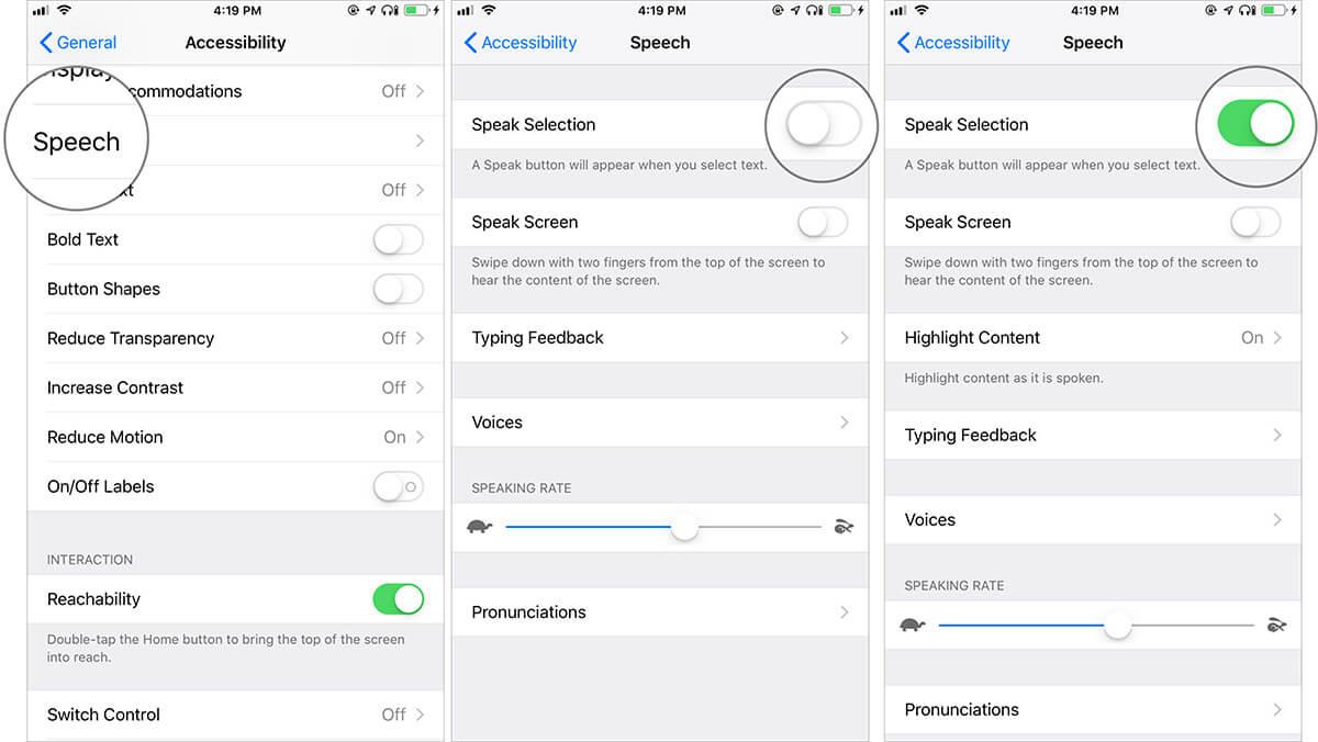 Turn ON Speak Selection on iPhone or iPad