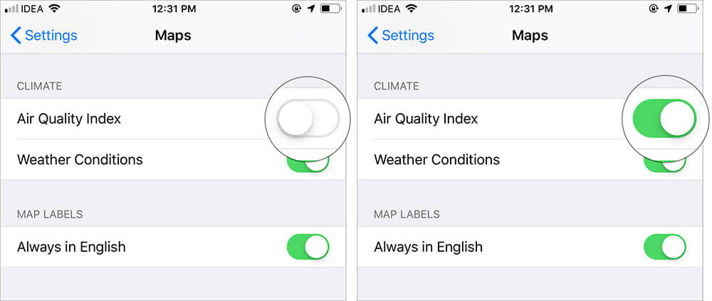 Turn ON Switch Next to Air Quality Index in Apple Maps Settings