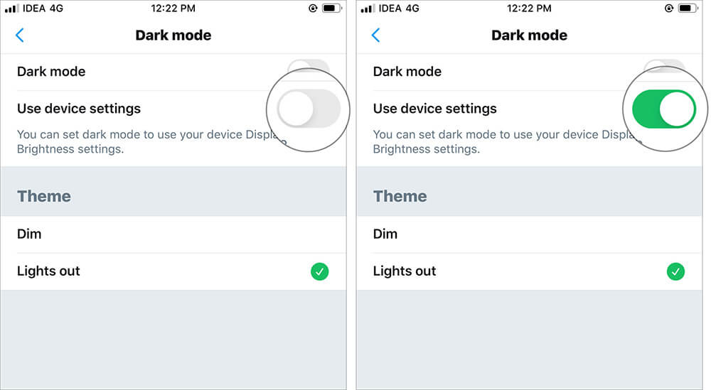 Turn ON Use device settings to Enable Twitter Dark Mode for iOS 13 Device