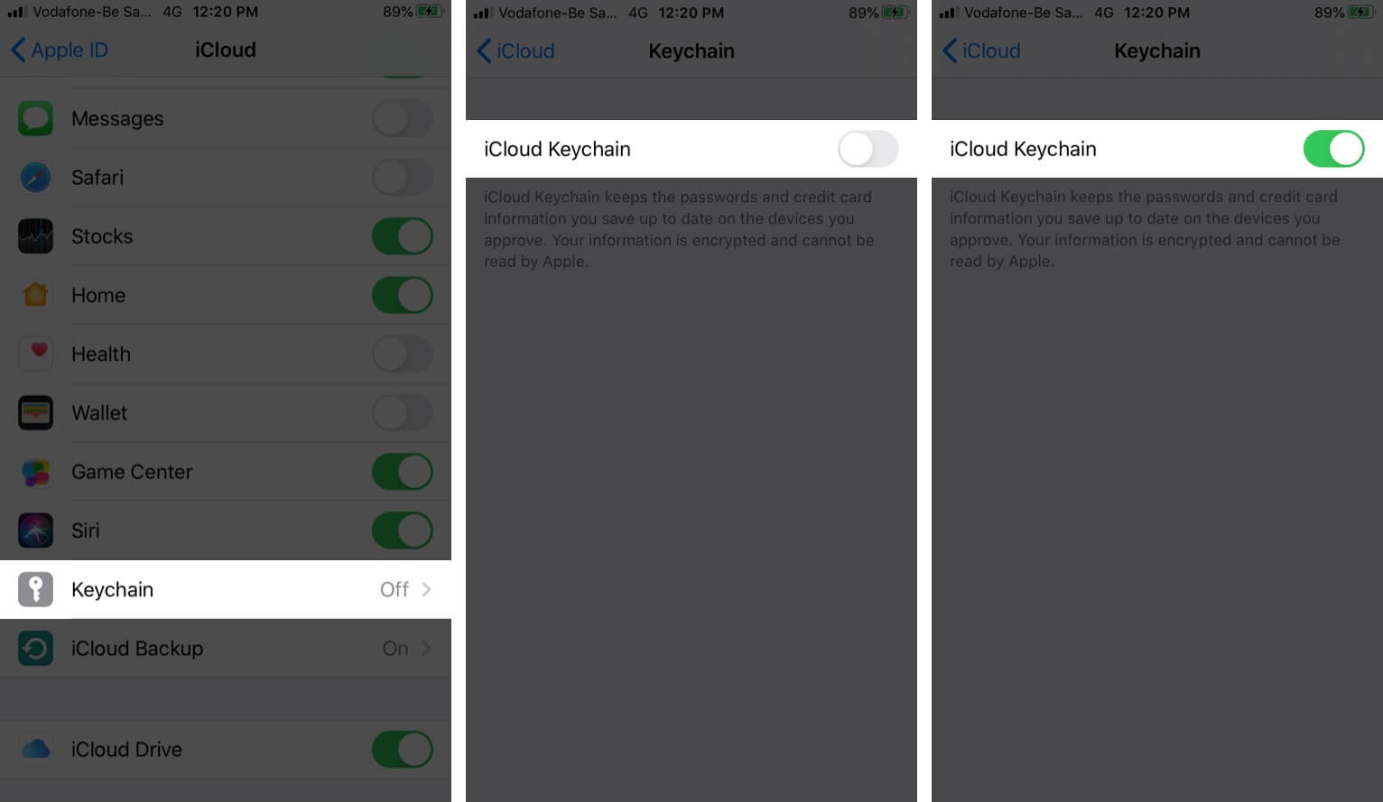 Turn ON iCloud Keychain in iOS 13 on iPhone