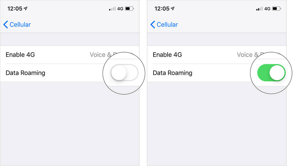 Turn ON switch next to Data Roaming to enable on iPhone