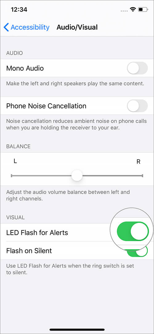 Turn ON toggle for LED Flash Alerts on iPhone