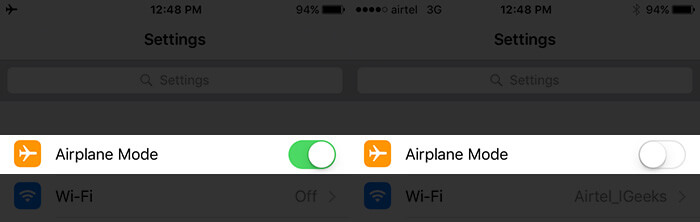 Turn Off AirPlane Mode on iPhone