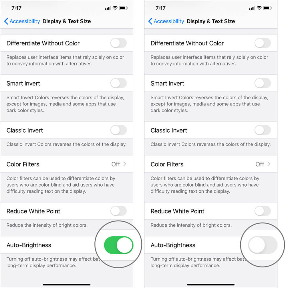 Turn Off Auto-Brightness in iOS 13 Settings App on iPhone