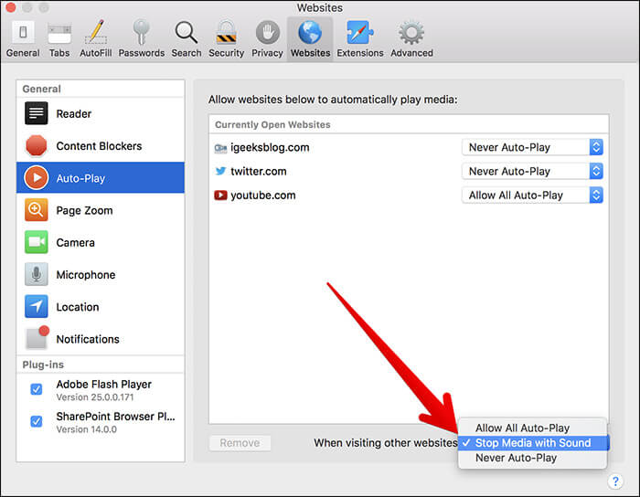 Turn Off Auto-play Video in Safari in macOS High Sierra