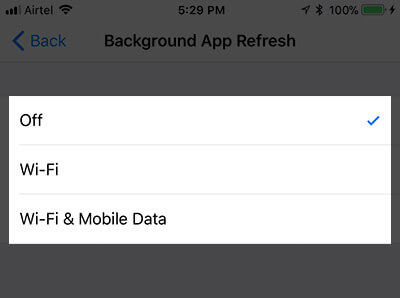 Turn Off Background App Refresh on iPhone in iOS 11