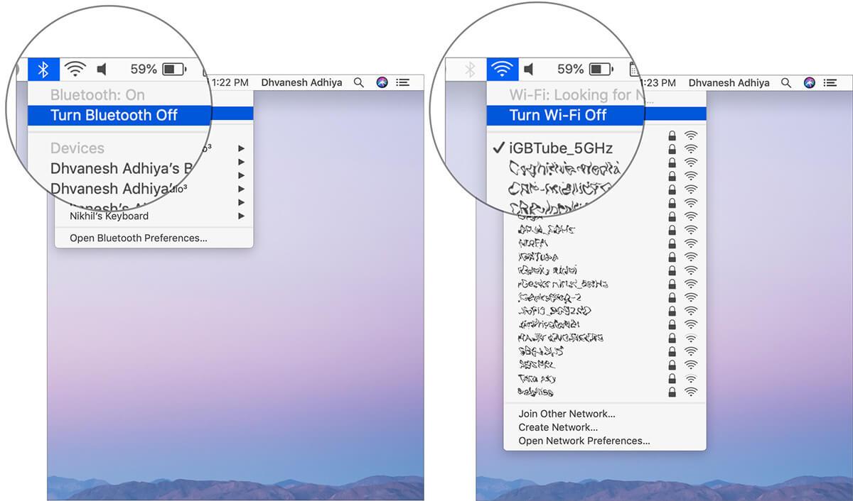 Turn Off Bluetooth And WiFi on Mac