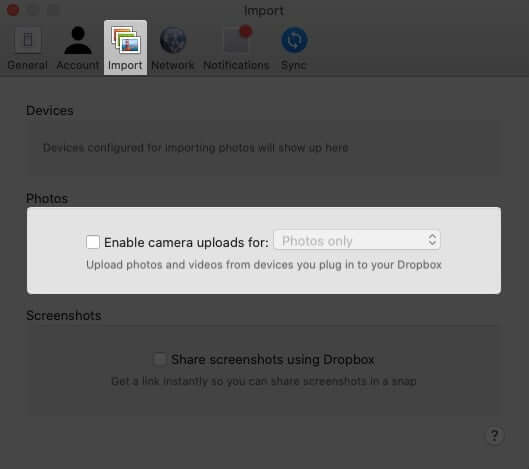 Turn Off Dropbox Automatic Camera Uploads on Mac
