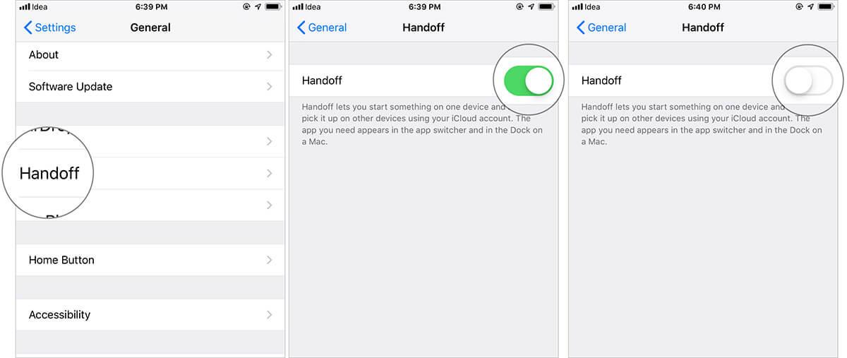 Turn Off Handoff on iPhone